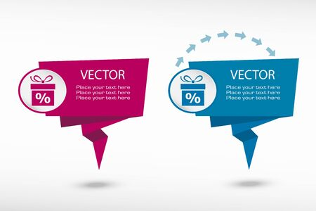 Gift discount box on origami paper speech bubble or web banner, prints. Vector illustration Vector