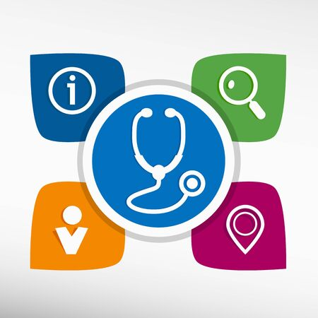 diagnostic medical tool: Stethoscope  icon and icons set vector illustration. Modern Flat style
