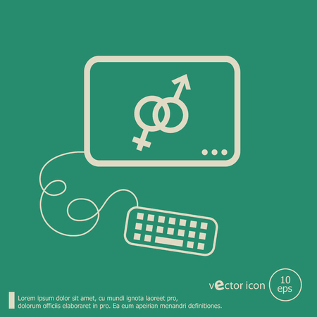Male and female icon and flat design elements. Line icons for application development, web page coding and programming, web design, creative process, social media, seo. Vector