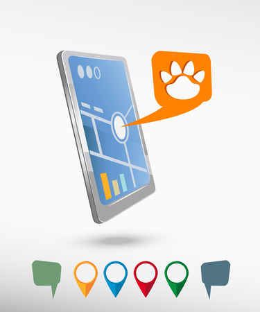 track pad: Paw, web icon and perspective smartphone vector realistic. Set of bright map pointers for printing, website, presentation element and application mockup