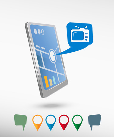 televisor: Televise and perspective smartphone vector realistic. Set of bright map pointers for printing, website, presentation element and application mockup Illustration