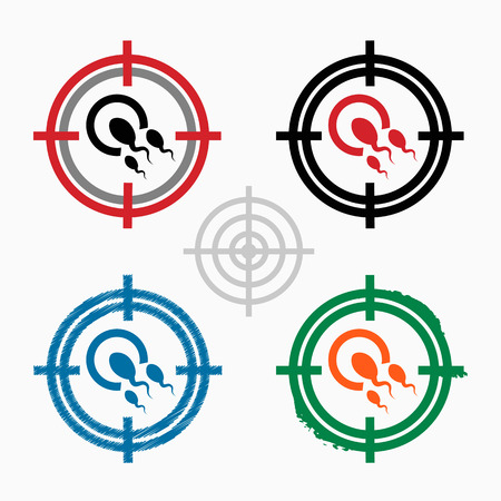 Sperms and egg icon on target icons background Vector