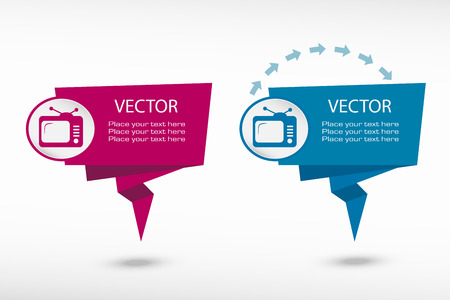 Televise on origami paper speech bubble or web banner, prints illustration