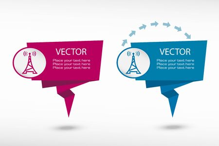 transmitter: Transmitter icon on origami paper speech bubble or web banner, prints illustration