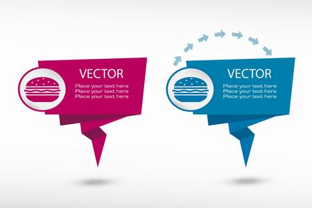 american cuisine: Hamburger on origami paper speech bubble or web banner, prints illustration Illustration