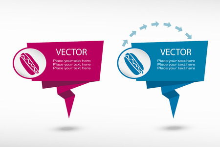 weight control: Hot dog on origami paper speech bubble or web banner, prints illustration