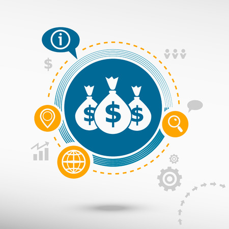 Money symbol and creative design elements. Flat design concept
