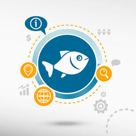 product signal: Fish symbol and creative design elements. Flat design concept Illustration