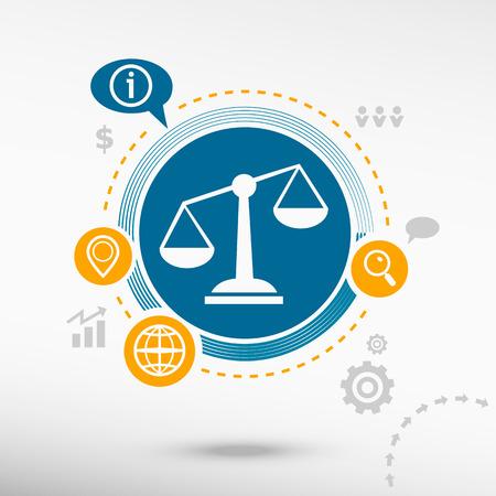 balanza en equilibrio: Escalas de la señal de Justicia y elementos de diseño creativos. Concepto de diseño Flat Vectores