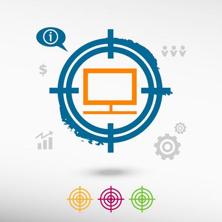 televisor: Monitor on target icons background. Flat illustration.