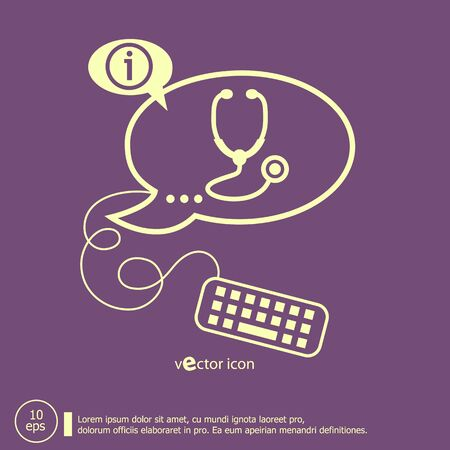 Stethoscope  icon and keyboard design elements. Line icons for application development, web page coding and programming, creative process Vector