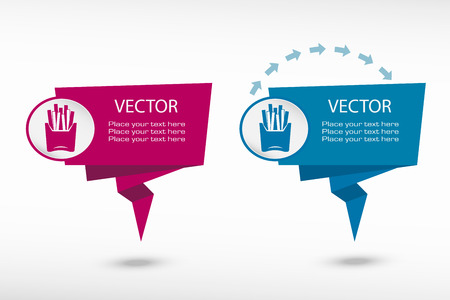 fattening: Fried potatoes icon on origami paper speech bubble or web banner, prints. Vector illustration Illustration