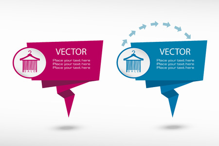 paper hanger: Sale barcode clothes hanger on origami paper speech bubble or web banner, prints. Vector illustration