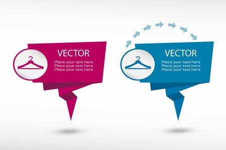 paper hanger: Hanger icon on origami paper speech bubble or web banner, prints. Vector illustration