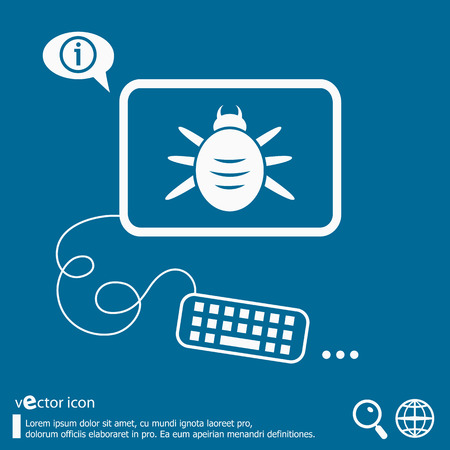 Bug icon and flat design elements.