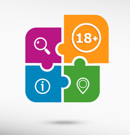 18 years old: 18 plus years old sign. Adults content icon on colorful jigsaw puzzle Illustration