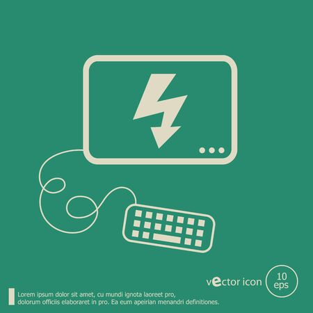 Lightning icon and flat design elements. Line icons for application development, web page coding and programming,  web design, creative process, social media, seo