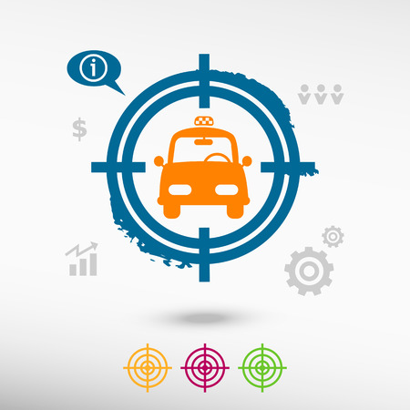 sniper crosshair: Taxi Icon on target icons background. Flat illustration.