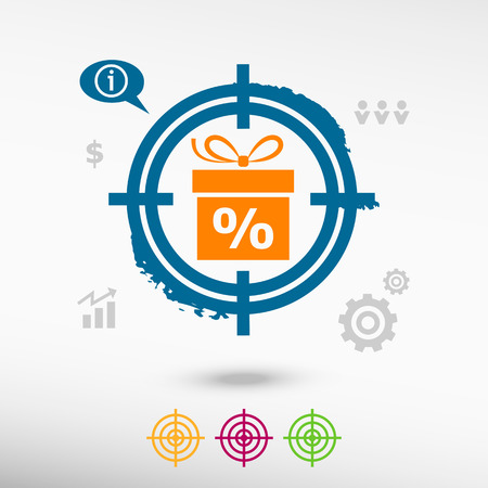 glyphs: Gift discount box on target icons background. Flat illustration.