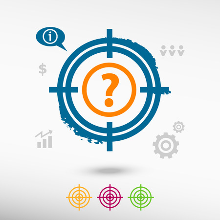 sniper crosshair: Question mark icon on target icons background. Flat illustration. Illustration