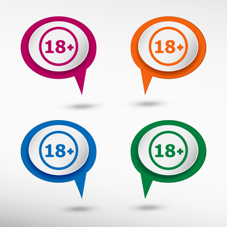 18 years old: 18 plus years old sign. Adults content icon on colorful chat speech bubbles Illustration