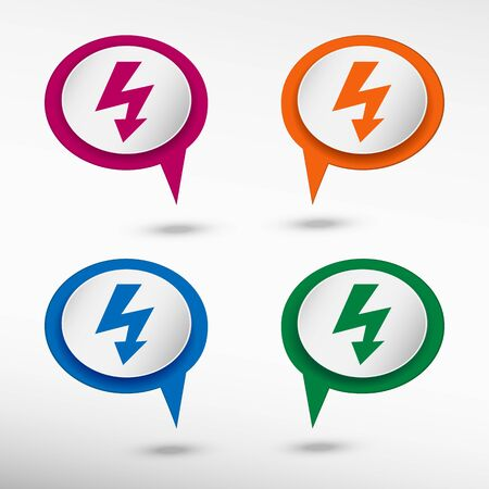 discharge: Lightning icon on colorful chat speech bubbles