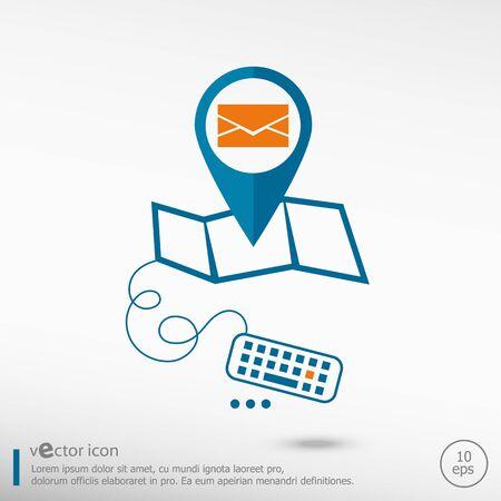 secretariat: Envelope icon and pin on the map. Line icons for application development, creative process. Illustration