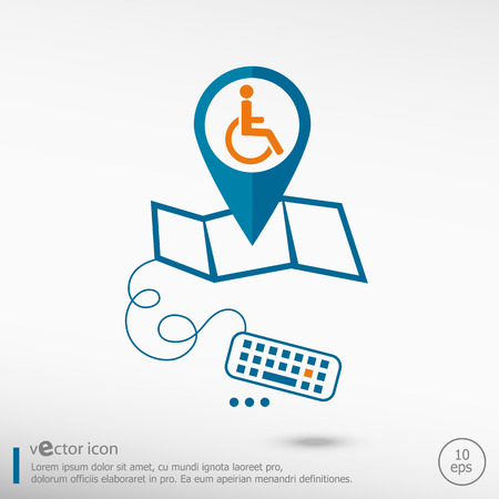 Disabled Handicap icon and pin on the map. Line icons for application development, creative process. Vector
