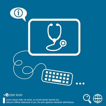diagnostic medical tool: Stethoscope  icon and flat design elements. Line icons for application development, web page coding and programming, creative process, social media, print.