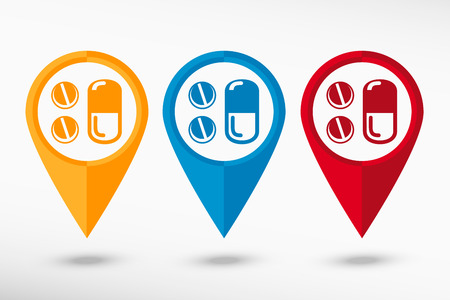 aspirin: Pill icon map pointer, vector illustration. Flat design style