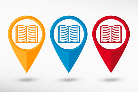 Book icon map pointer, vector illustration. Flat design style Ilustrace