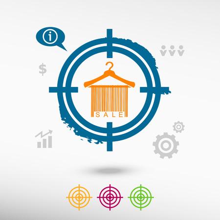 clotheshanger: Sale barcode clothes hanger on target icons background. Flat illustration.