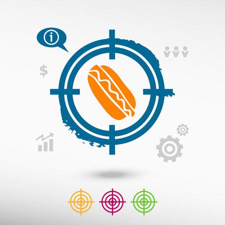fattening: Hot dog on target icons background. Flat illustration.