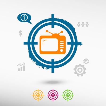 televisor: Televise on target icons background. Flat illustration. Illustration