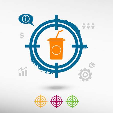 soft drink: Soft drink icon on target icons background. Flat illustration.