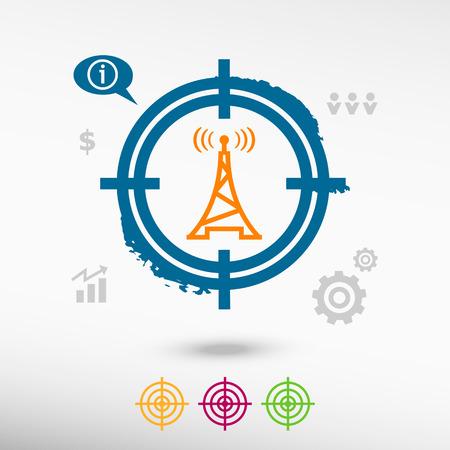 transmitter: Transmitter icon on target icons background. Flat illustration.