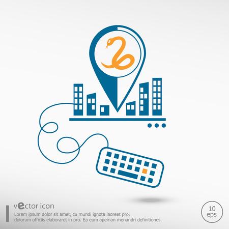 imminence: Icono de la serpiente y el teclado. Iconos de línea para el desarrollo de aplicaciones, el proceso creativo.