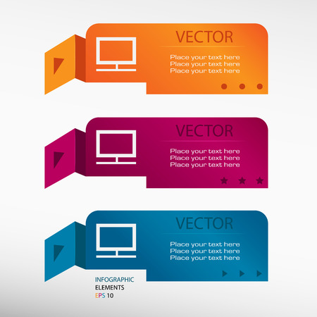 televisor: Monitor on origami paper banners. Can be used for workflow layout, diagram, business step options, banner, web design Illustration