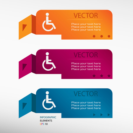 handicap: Disabled Handicap icon on origami paper banners. Can be used for workflow layout, diagram, business step options, banner, web design