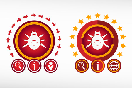 acarid: Bug icon and creative design elements. Red design concept Illustration
