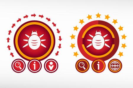 acarid: Bug icon and creative design elements. Red design concept Illustration