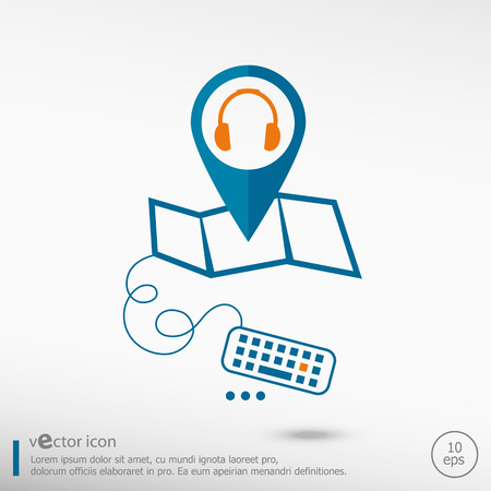 earpieces: Headphone and pin on the map. Line icons for application development, creative process. Illustration
