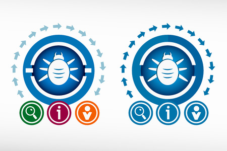 Bug icon and creative design elements. Flat design concept.  イラスト・ベクター素材