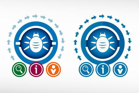 acarid: Bug icon and creative design elements. Flat design concept. Illustration