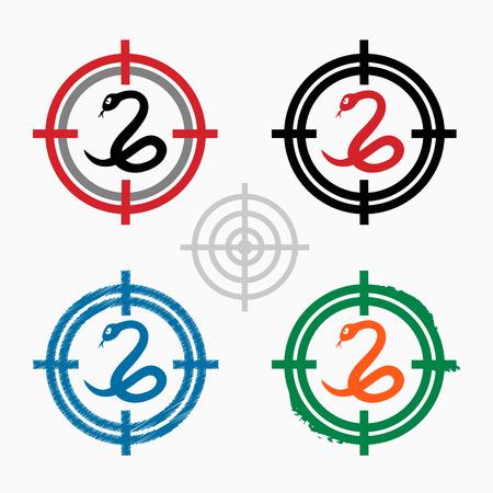 imminence: Icono de la serpiente en los iconos de objetos de fondo. Icono de punto de mira. Ilustración del vector.