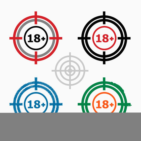 18 years old: 18 plus years old sign. Adults content icon on target icons background. Crosshair icon. Vector illustration.