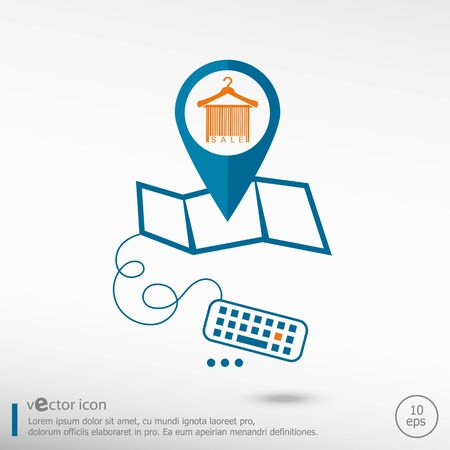 clotheshanger: Sale barcode clothes hanger and pin on the map. Line icons for application development, creative process.