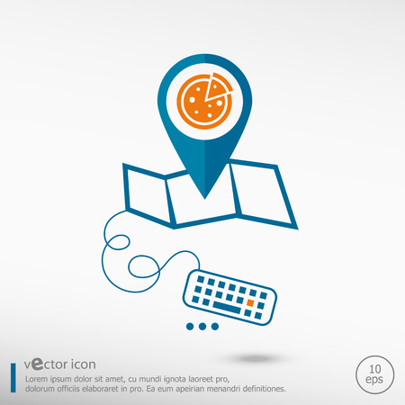 pizza place: Pizza and pin on the map. Line icons for application development, creative process. Illustration