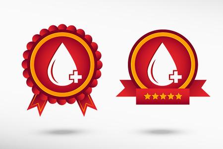 blood sugar: Blood  icon stylish quality guarantee badges. Colorful Promotional Labels Illustration
