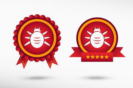 acarid: Bug icon stylish quality guarantee badges. Colorful Promotional Labels